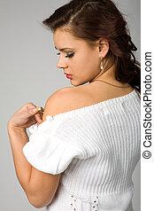 kobieta, w, biały, pulower