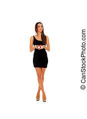 kobieta, w, czarny strój, dzierżawa dar, boks