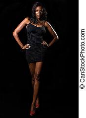 kobieta, w, czarny strój