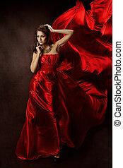 kobieta, w, czerwony strój, z, przelotny, budowla