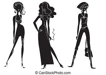 kobieta, w, fason, odzież, dla, projektować, na, white.vector, wzory
