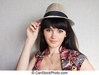 kobieta, w, hat.