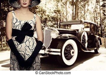 kobieta, w, kapelusz, przeciw, retro, wóz.