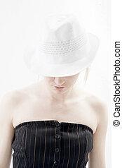 kobieta, w, kapelusz