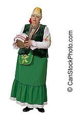 kobieta, w, krajowy, historyczny, ruski, kostium