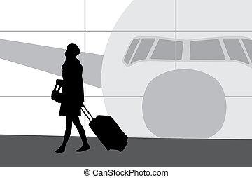 kobieta, w, lotnisko, sylwetka