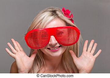 kobieta, w, pomylony, klown, okulary