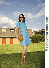 kobieta, w, retro, clothing.
