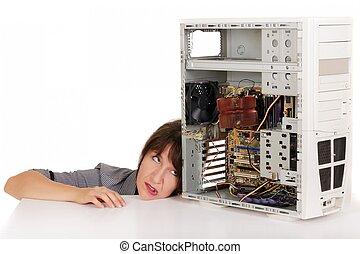 kobieta, w, strapienie, z, komputer