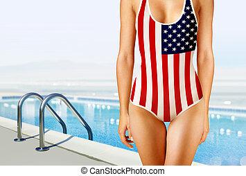 kobieta, w, swimwear, jak, american fla