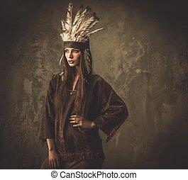 kobieta, w, tradycyjny, indianin, część garderoby, i,...