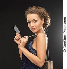 kobieta, w, wieczorny strój, z, vip, karta