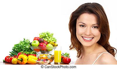 kobieta, warzywa, sok, owoce