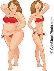kobieta, wektor, illustra, cienki, tłuszcz