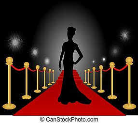 kobieta, wektor, przedstawianie, czerwony dywan