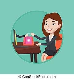 kobieta, wektor, zakupy, illustration., online