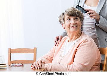 kobieta, wesołość, stary