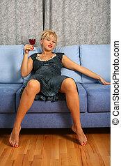 kobieta, wino