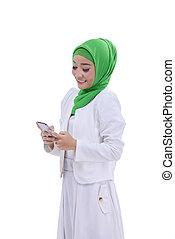 kobieta, wizerunek, muslim, smartphone, asian, używając