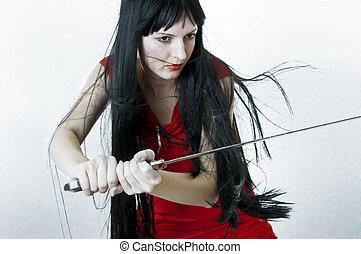 kobieta, wojownik, średniowieczny, lecąc włos, miecz, płciowy, zawiera