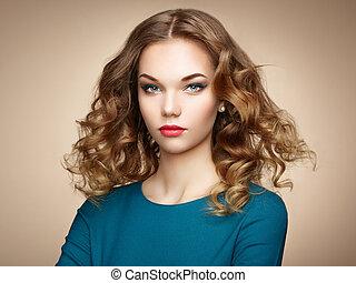 kobieta, wspaniały, włosy, elegancki, fason, portret