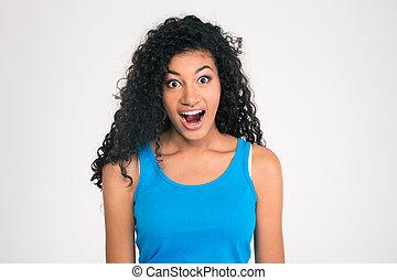 kobieta, wstrząśnięty, patrząc, amerykanka, aparat fotograficzny, afro