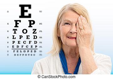 kobieta, wykres, widzenie, senior, oko, probierczy