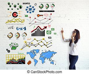 kobieta, wykresy, handlowy