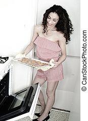 kobieta, wypiek, w, kuchnia