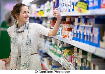 kobieta, wyroby, zakupy, młody, pamiętnik, piękny