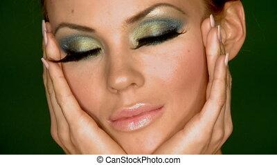 kobieta, wystający, makijaż, sexy, portret, piękny