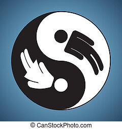 kobieta, &, yin, -, yang, człowiek