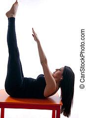 kobieta, yoga, hispanic, dwudziestki, pociągający, ruch