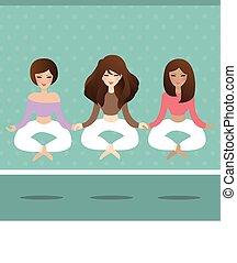 kobieta, yoga, lotos, przelotny, położenie, lewitować