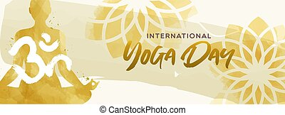 kobieta, yoga, lotosowa poza, akwarela, chorągiew, dzień