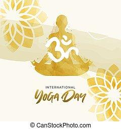 kobieta, yoga, lotosowa poza, akwarela, dzień, karta