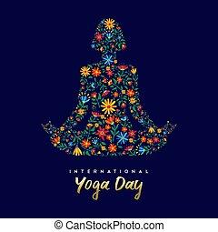 kobieta, yoga, lotosowa poza, złagodzenie, dzień, karta