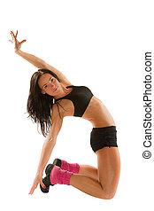 kobieta, yoga, młody, poza, odizolowany, lekkoatletyka, tło, biały, biustonosz