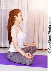 kobieta, yoga, odizolowany, tło, biały, ruch
