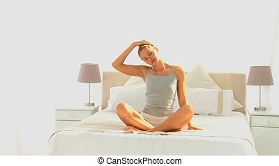 kobieta, yoga, pociągający