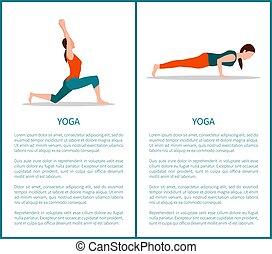 kobieta, yoga, sporty, barwny, ikony, dwa, chorągwie