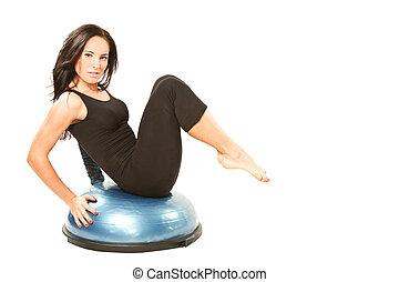 !, kobieta, yoga, tło., napinać, seria, ustalać, poza, młody, odizolowany, to, teczka, biały, mój, więcej