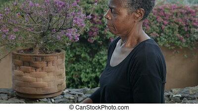 kobieta, yoga upozowują, afrykanin, laszując, pokręcić, ...