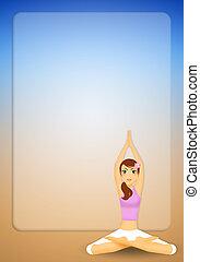 kobieta, yoga upozowują