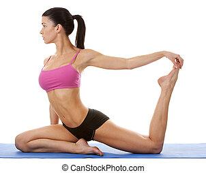 kobieta, yoga, wykonując