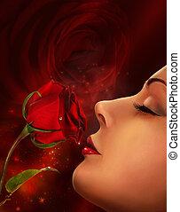 kobieta, złoty, collage, róża, twarz, bez, projektować