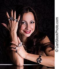 kobieta, z, biżuteria