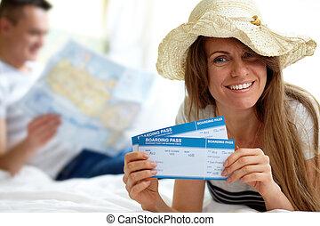 kobieta, z, bilety