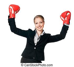 kobieta, z, boks rękawiczki
