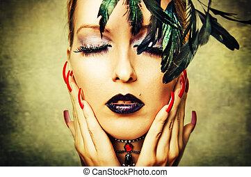 kobieta, z, ciemny, makijaż, i, czerwony, paznokcie